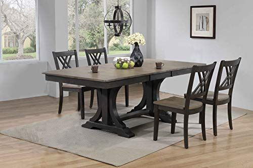 Iconic Furniture Company Rt82 Deco Bks Rt82 Rt82 Deco Bks Ch56 Grs Bks 5 Piece Greystone Black Stone Solid Wood Dining Set Side Chairs Dining Furniture