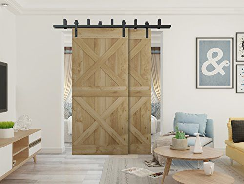 Diyhd 10ft N Shaped Bypass Double Sliding Barn Door Hardware Rustic Black Cabinet Door Double Barn Door Track Kit To With Images Double Sliding Barn Doors Inside Barn Doors