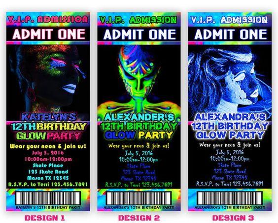 Printable Glow Party Invitation - Glow In The Dark Invitation - Neon Party…