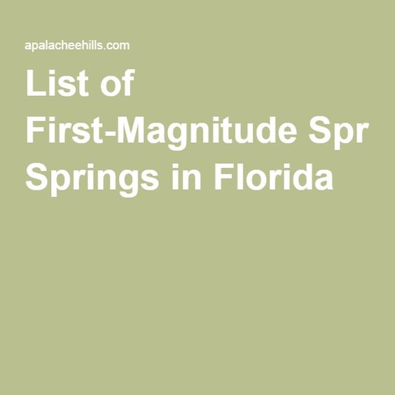 List of First-Magnitude Springs in Florida