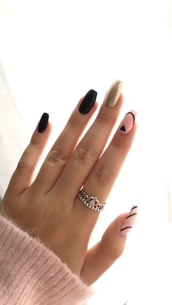 Simple Nail Art Designs Black White Silver Glitter Coffin Acrylic Gel Polish Strip Glitter Gel Nails Simple Nail Art Designs Simple Nails