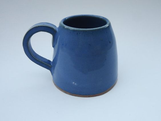 Speckled Blue Ceramic Mug with Handle Cup by craftingpatterns