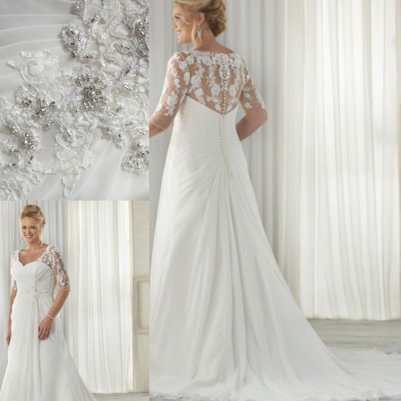 plussize wedding dress, lace back,lace sleeves, available in our boutique now  Www.TheBridal-Lounge.co.uk