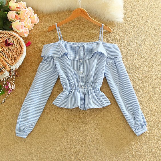 Alpha 2016 Spring Women Strap Shirts Single Breasted Off-shoulder Peplum Waist Short Blouses Shirts Women Sweet Tops in 2colors