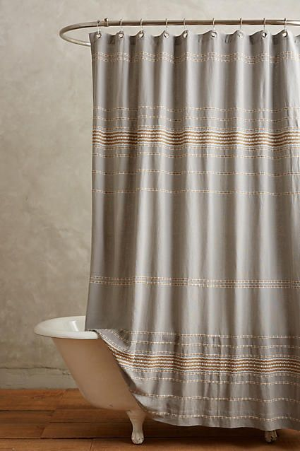 Coyuchi Scallop Striped Shower Curtain - anthropologie.com