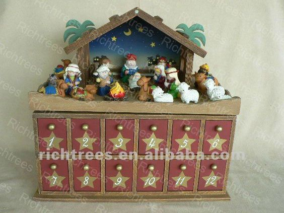 Wooden Christmas Nativity Advent Calendar With 24