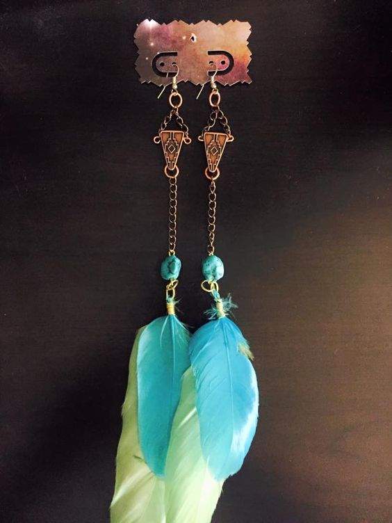 aaseagypsy jewels; aztec inspired cotton candy green and blue feather earrings;