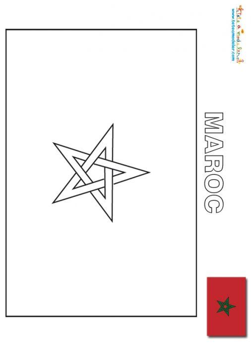 coloriage Maroc : coloriage drapeau
