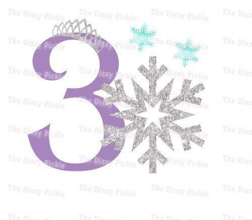 Third Birthday Snow Frozen Snowflake Silver Glitter Etsy Frozen Snowflake Third Birthday Frozen Birthday Shirt