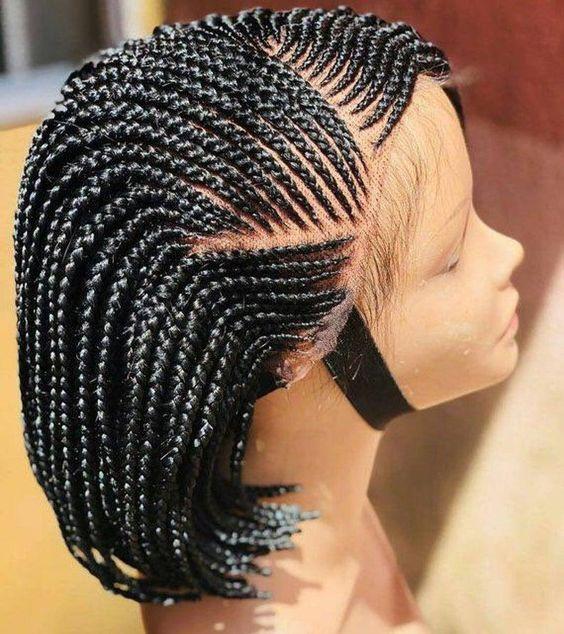 braided wigs, side swept