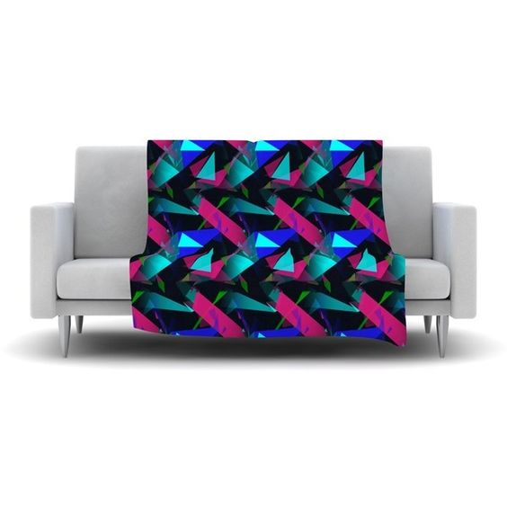 """Confetti Triangles Dark by Alison Coxon Fleece Throw Blanket Size: 40""""... (£50) ❤ liked on Polyvore featuring home, bed & bath, bedding, blankets, fleece blanket throw, bunny blanket, fleece blanket, rabbit bedding and fleece throw"""