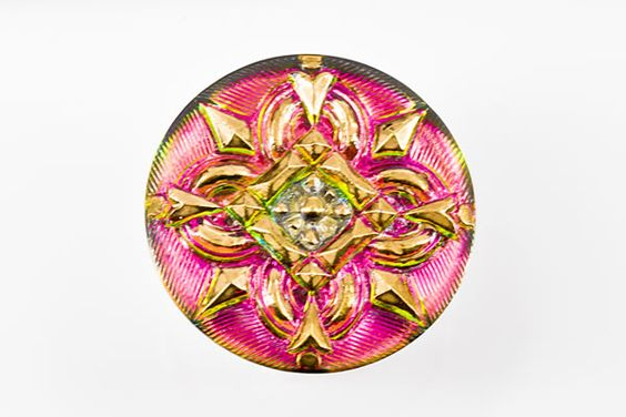 B01322 - Czech Glass Button - Gold/Pink Mix - (1) - $8.80