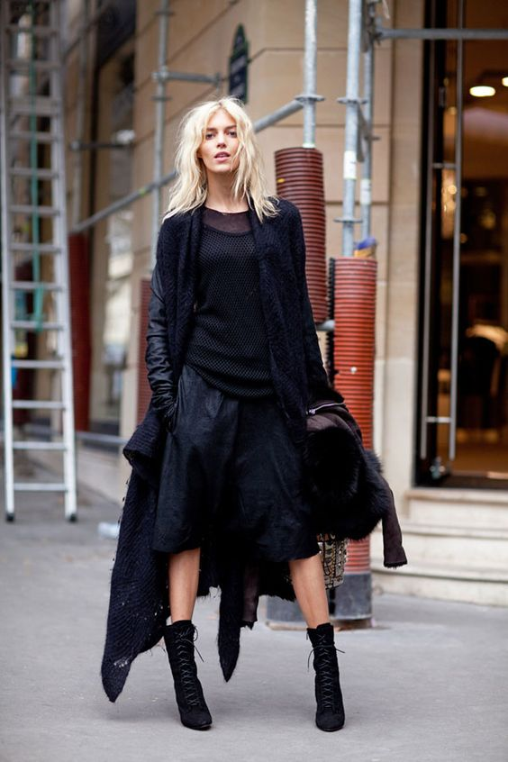 Paris Fashion Week: Street Style -   Anja Rubik looks insanely chic in well-placed all-black. - I need to learn how to layer like this.