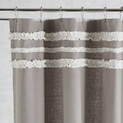 Ruffle Trim Gray Shower Curtain Pier 1 Imports Gray Shower