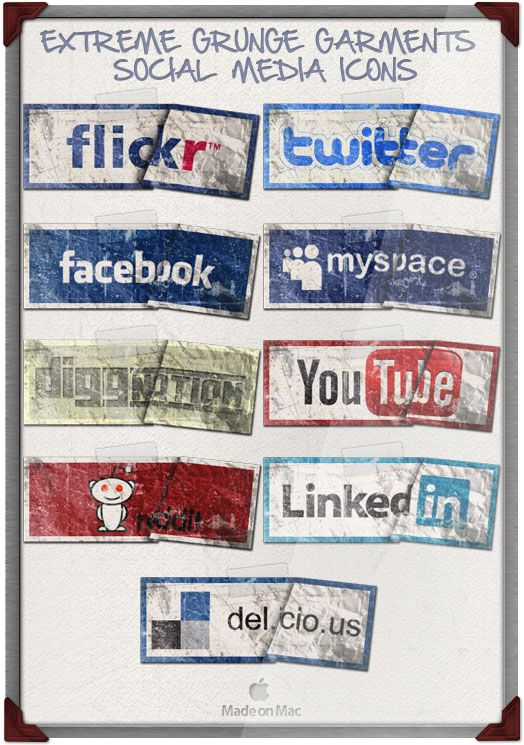 20 different and FREE social media icons.  Downloadable.