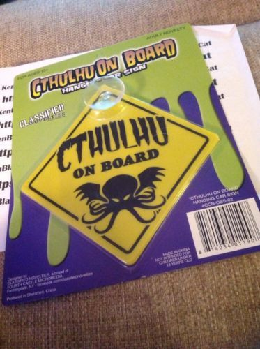 NEW-SEALED-Cthulhu-On-Board-Hanging-Car-Sign-H-P-Lovecraft #ebay #sold #cthulhu #kenblackcat