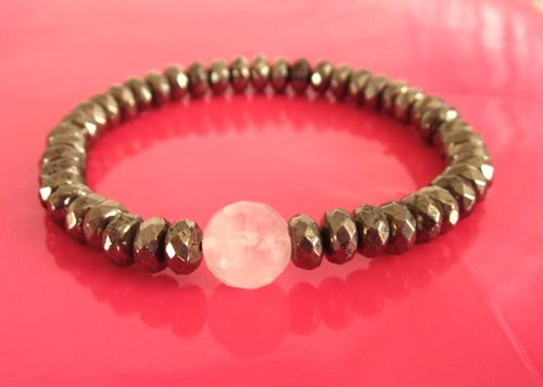 Energy & Heart Stack Solo - Pyrite  with Rose Quartz Bead - $60