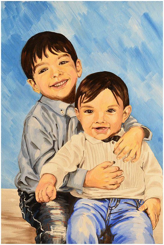 Ritratto di bambini - olio su tela 30x40 - 2016