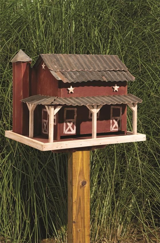 Amish Wooden Primitive Painted Barn Bird Feeder with Tin Roof