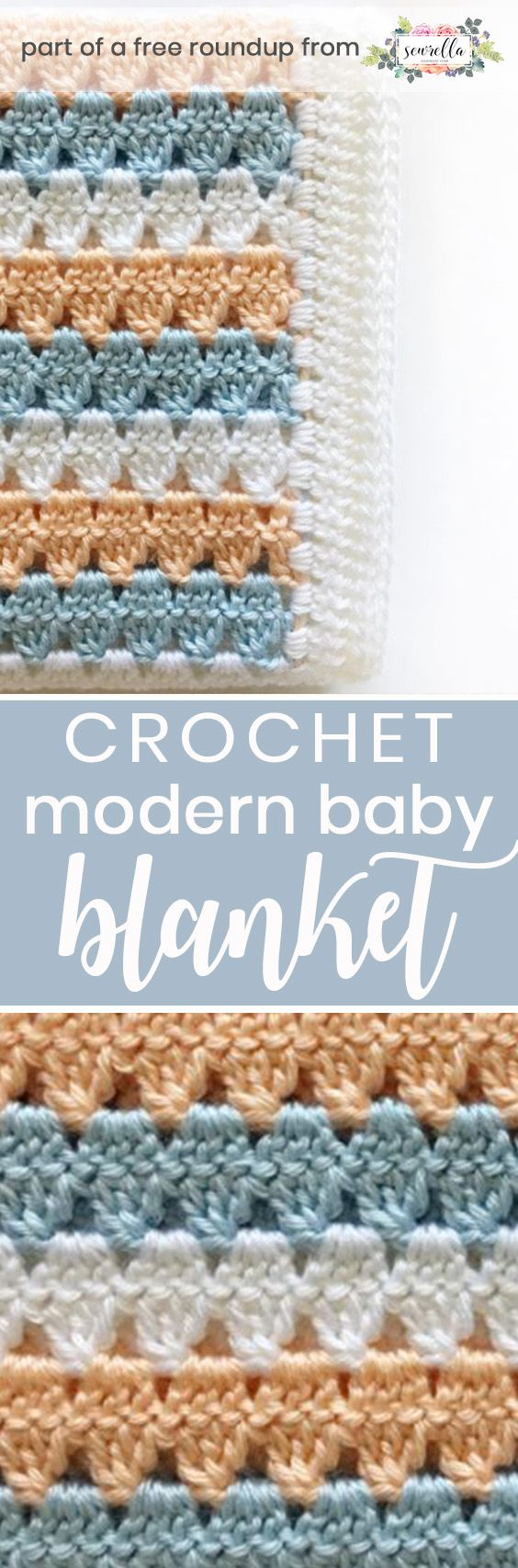 Get the free crochet pattern for this modern granny stripe baby blanket from Daisy Farm Crafts featured in my gender neutral baby blanket pattern roundup!