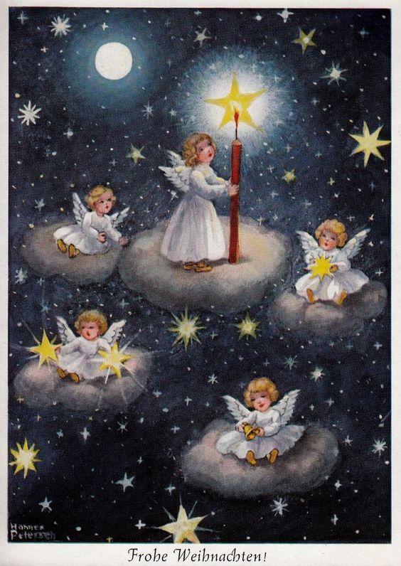 AK, Hannes Petersen, WEIHNACHTEN, Kleine Weihnachtsengel auf weißen Wolken- 1959