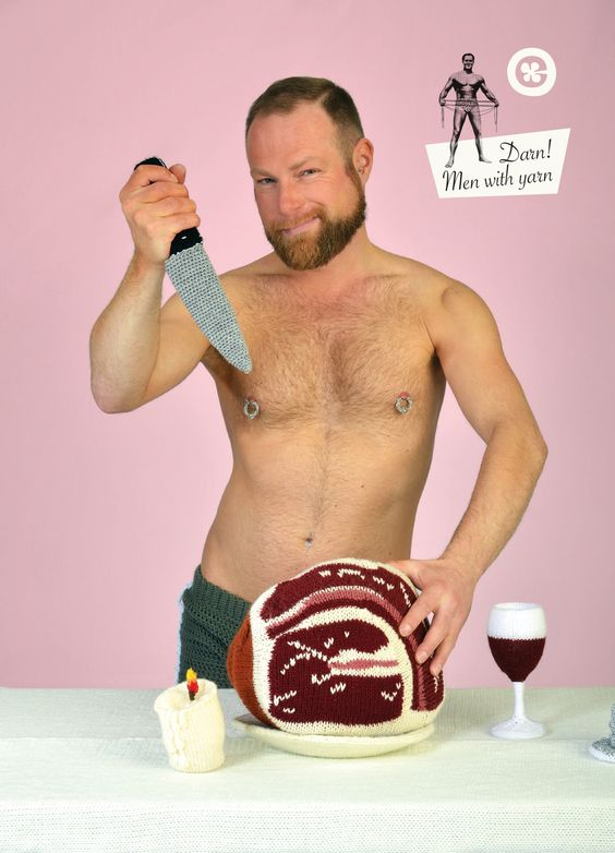 Darn! Men with yarn postcard: http://tinyurl.com/nwb8c9v with knitted meat, wine and knife