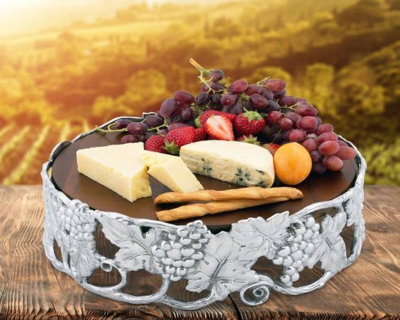 Butterfly Wood Cheese Pedestal