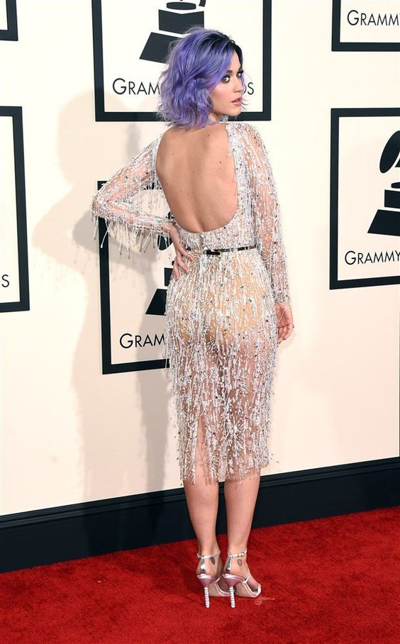Katy Perry in Transparent Dress with No Panties