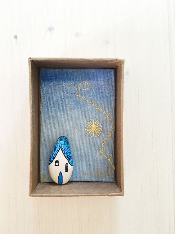 Embroidered and handpainted Diorama with miniature stone House - Fine art - Home decor - OOAK Gift under 100