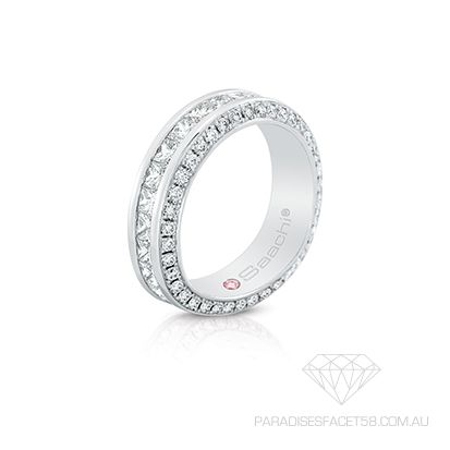 Saachi 'Marise' wedding  www.paradisesfacet58.com.au  Princess Cut Diamonds channel set with Round Brilliant Cut Diamonds symbolize everlasting love and commitment which radiating absolute brilliance
