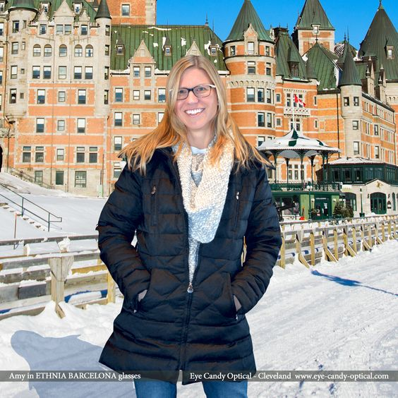 """Amy looks great and loves Canadian winter in her new designer glasses by Etnia Barcelona.  Eye Candy says """"Oui"""" to the French Eyewear Fashion!  Be who you want to be at Eye Candy Optical! (440) 250-9191 - Book Eye Exam over the Phone www.eye-candy-optical.com/Vision_and_Exams - Book Eye Exam Online!"""