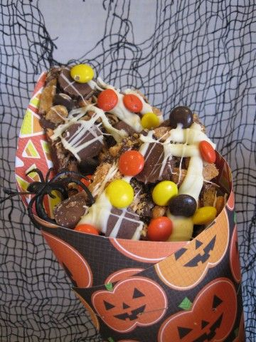 Halloween Peanut Butter and Toffee Candy Bark Party Mix
