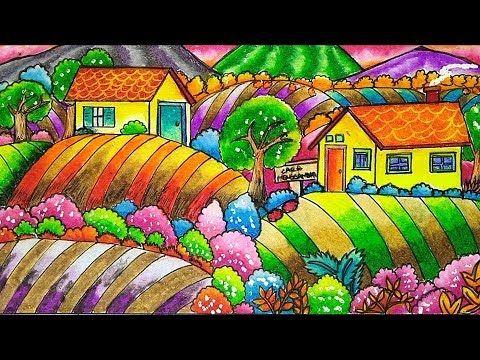 Cara Menggambar Dan Mewarnai Rumah Pemandangan Suasana Desa Dengan