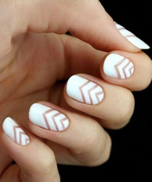 Cute V Shaped White Nail Art Designs Styles Beat Pretty Nails Wedding Nail Art Design Fashion Nails