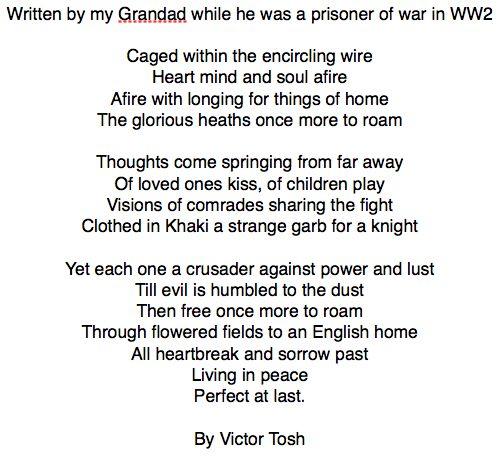 WW2 Prisoner of war poem By Vic Tosh | War unit ...