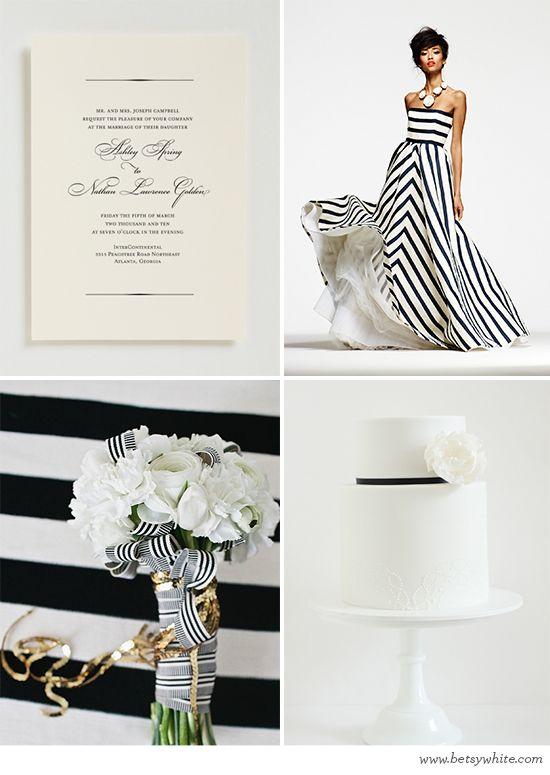 Inspiration: Simple Black Stripes, featuring our 'Elizabeth' invitation | Flights of Fancy