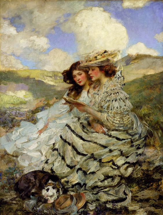 On the Dunes (Lady Shannon and Kitty), ca. 1900-1910. James Jebusa Shannon (Anglo-American, 1862-1923). Oil on canvas. Smithsonian American Art Museum.  In 1886 Shannon married Florence Mary Cartwright and a year later their daughter Kitty was born. He painted them on many occasions and in these he was able to be more intimate and informal in his painting style.: