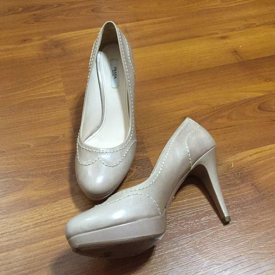 Nude heels Prada shoes and Heels on Pinterest
