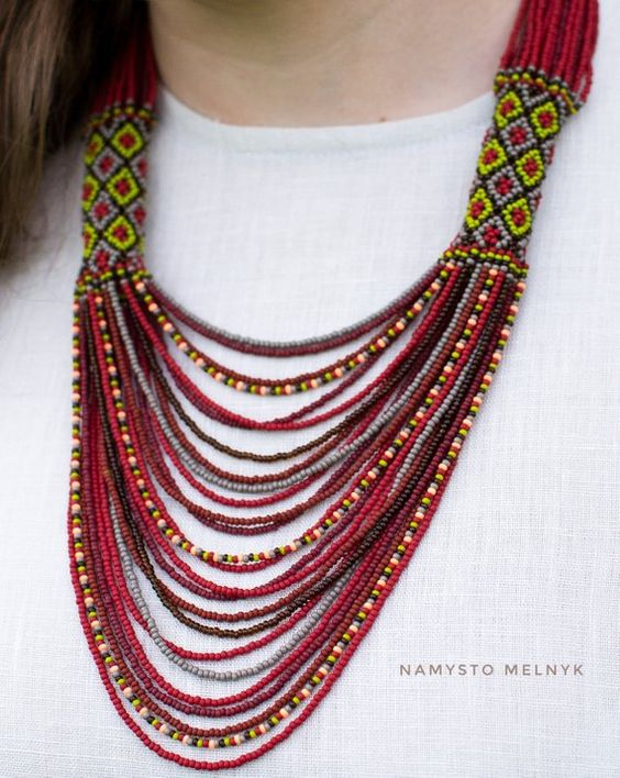 Burnt orange native american beadwork, Gerdan, Necklace short geometric in coffee brown tones, Ukrai