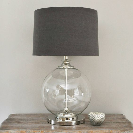 glass ball table lamp and grey shade drums grey and glasses. Black Bedroom Furniture Sets. Home Design Ideas