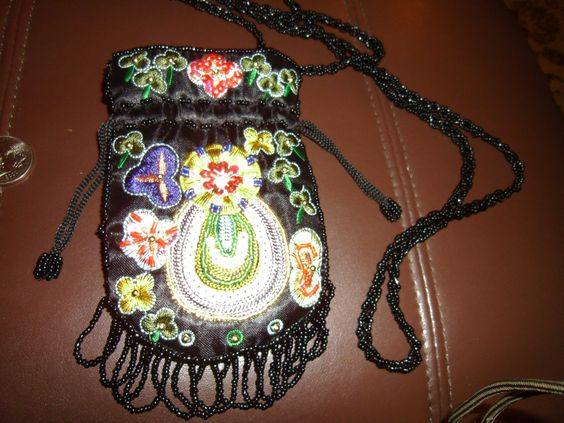 Beautiful Elaborate Bead Sequin and Embroidered Black Silk (?) Drawstring Pouch