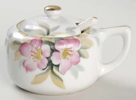 Mustard Jar & Lid With Spoon in the Azalea pattern by Noritake