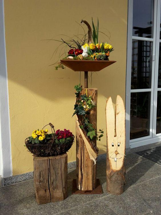 Holzbalken mit schale holzf chse fr hling pinterest for Rost schale dekorieren