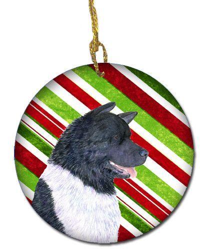 Akita Candy Cane Holiday Christmas Ceramic Ornament SS4590