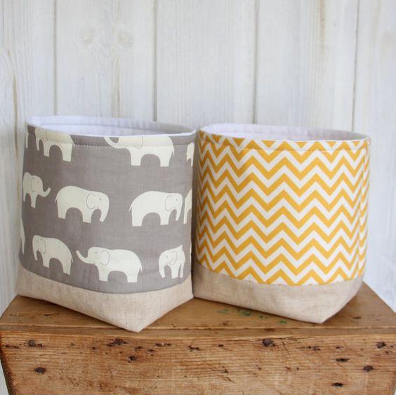 Nursery Storage Basket Grey Elephants by acraftyhen on Etsy
