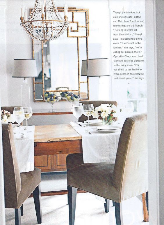 Love mirror, chandelier, lamps, table, chairs......wine glasses