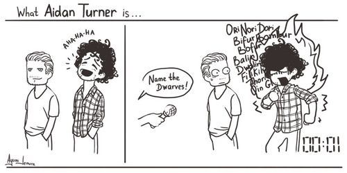 HAHA! If you haven't seen the video of Aiden Turner naming all of the dwarves, then you must watch it!
