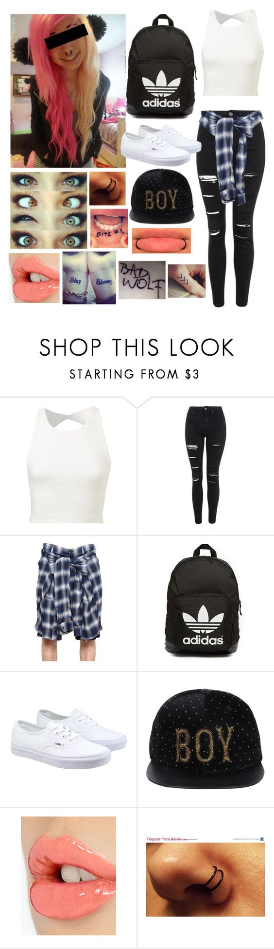 """""""Untitled #462"""" by casparleelovesme123 ❤ liked on Polyvore featuring Topshop, Miharayasuhiro, adidas Originals, Vans, Charlotte Tilbury, women's clothing, women's fashion, women, female and woman"""