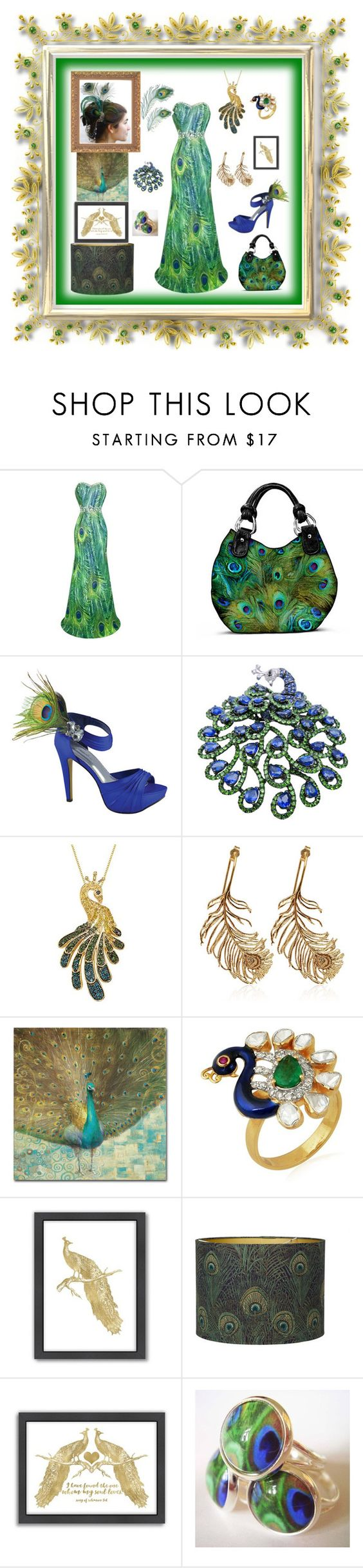 """""""Pretty Little Peacock"""" by mcronald-denise ❤ liked on Polyvore featuring The Bradford Exchange, Benjamin Walk, Alex Monroe, Trademark Fine Art, Amrapali, Americanflat and Liberty"""