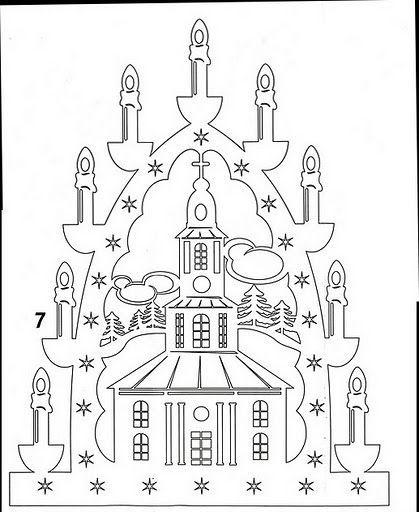 Kostel scherenschnitt pinterest for Schwibbogen vorlagen kostenlos